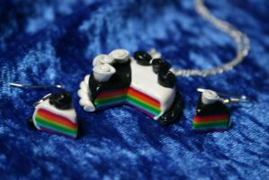 Rainbow Cake Charms Necklace and Earrings by LoekazCharms