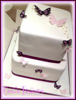 Purple Butterfly Wedding Cake by gertygetsgangster