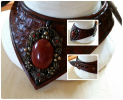 Medium Brown Leather Gorget 2 by passbyguy