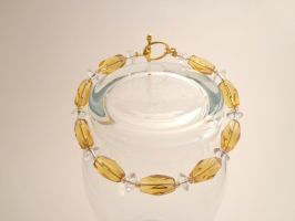 Gold and Clear Bracelet 23 by TheSortedBead