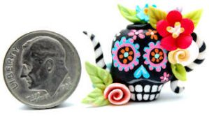 DAY OF THE DEAD SKULL TEAPOT by WEE-OOAK-MINIATURES