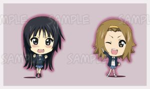 K-ON Keychains Mio and Ritsu by Letucse