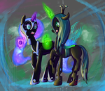 Commission: Nightmare Moon and Chrysalis by RyuRedwings