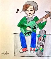 Yoshi playing the guitar by SonicAngel23