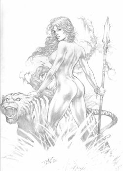 Ed Benes: Jungle Girl by comiconart