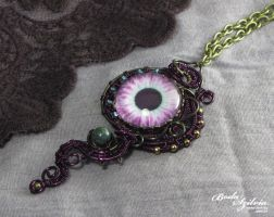 Purple eye necklace by bodaszilvia