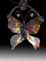 Butterfly fire painted copper necklace by Nimily