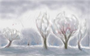 Four trees in winter by ringonoki