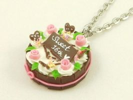 Sweet Chocolate Cake Necklace by SweetandCo