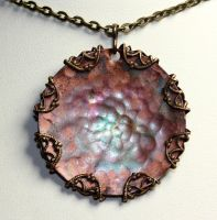 Simple Hammered Copper Pendant by Ironmountain01