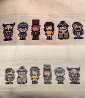 Professor Layton Cross Stitch Towel by Riku-of-Darkness
