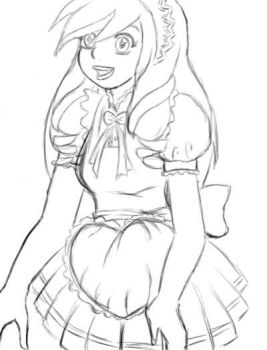 First sketch with tablet by Eleanor-Devil