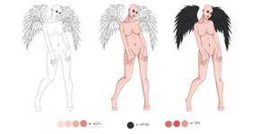 Free Female Angel Lineart/bases by Chidoptabi