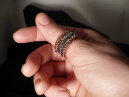 Copper and Steel Ring by chainmaille