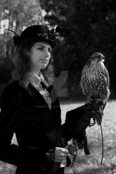 Victorian lady with falcon by emerald825