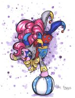 Art Trade: Jester Pinkie Pie by frostykat13