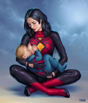Spider-woman Breastfeeding by Candra by cerebus873