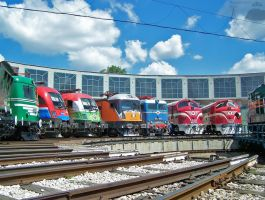 MAV and Privat locos in Budapest in july, 2010 by morpheus880223