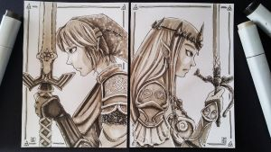 Sketch Card: Link and Zelda. by meriimerodii