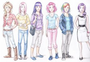 Mane Six Humanized by vasira