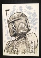 Boba Fett Sketch Card by Dave-Acosta
