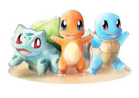 Pokemon Kanto Starters by Advent-Hawk