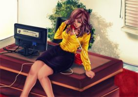 [Request] office lady on the phone~ by keanove