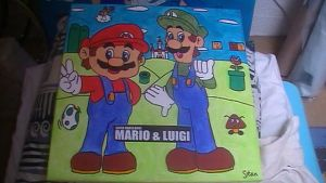Mario and Luigi painting by Chaoslink1