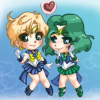 Sailor Uranus x Neptune Collab with HezaChan by Danni-Stone
