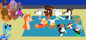 Foofur and Friends at the Pool by JustinandDennnis