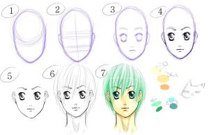 Basic Anime Face Tutorial by fluffys-inu