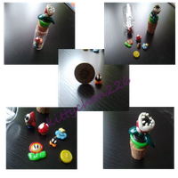 Polymer clay Mario figures by Kittychen226
