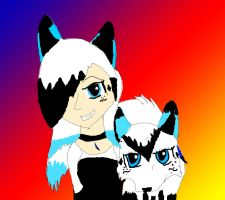 Midnight human and Wolf form by Mewgirl223