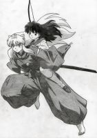 Inuyasha with Kagome by Lina116