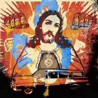 Jesus on a wall by Frikie
