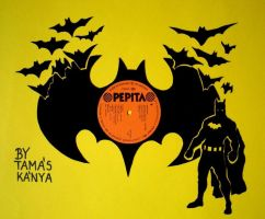 batman silhouette vinyl records art by tamas kanya by tom-tom1969