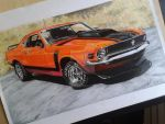 Ford Mustang boss 302 drawing by DSPA360