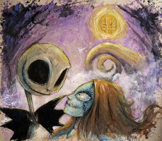 Jack and Sally The Nightmare before Christmas by AdamScythe