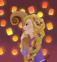 Tangled: Lanterns by clarkey-lou