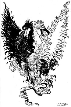 Two Headed Phoenix by uncouthbarbarian
