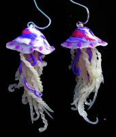 wild purple jellyfish earrings by carmendee