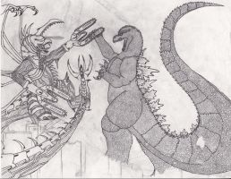 Art Trade #1 - Godzilla VS Gigan FW Sketch by BurningG-HellOnEarth