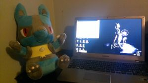 Mah Lucario Plushie. (And laptop apparently) by MacroBlazikenSilver