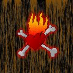 Crossbones Heart Fire by kXn