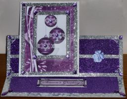 Xmas Baubles Card in Purple and Silver by blackrose1959