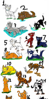 26 Warrior/cat Atopts by Shadowwolf66667