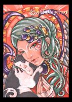 Praying Angel and Cat 164 by natamon