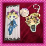Yugi keychain and Pharaoh Atem button by xXxPharaohxXx