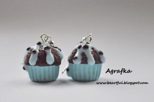 Blue chocolate muffins from fimo polymer clay by Aagrafka