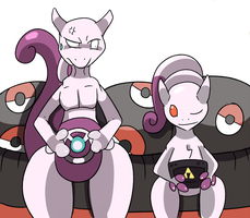 Commission Mewtwo vs Mega Mewtwo by Phatmon66